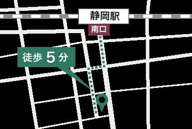 静岡駅からの道順マップ